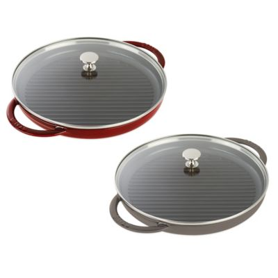 Staub 12-Inch Cast Iron Steam Grill with Glass Lid in Cherry
