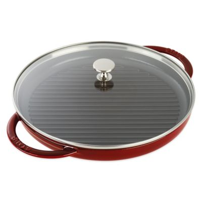 Staub 12-Inch Cast Iron Steam Grill with Glass Lid in Grenadine