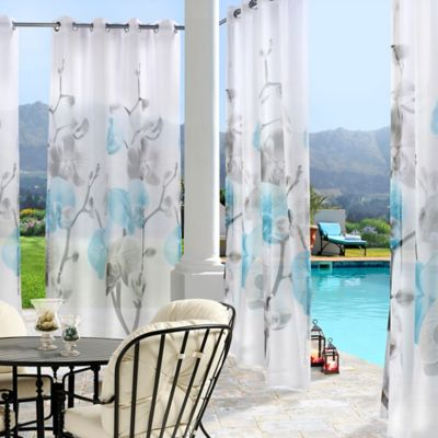 Orchid 96-Inch Indoor/Outdoor Grommet Top Window Curtain Panel in White/Blue