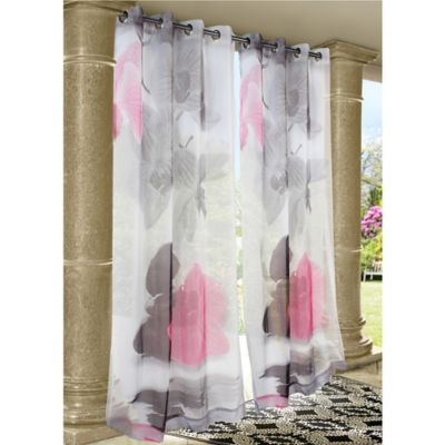 Commonwealth Home Fashions Zen Rocks 84-Inch Indoor/Outdoor Grommet Window Curtain Panel in Pink