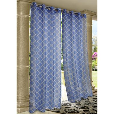 Wrought Iron 84-Inch Indoor/Outdoor Grommet Top Panel Window Curtain in Blue