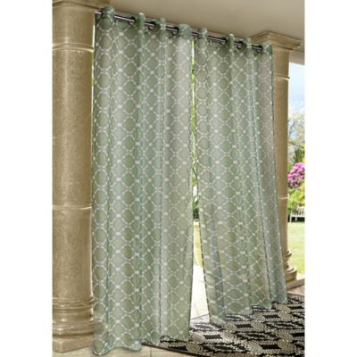 Commonwealth Home Fashions Wrought Iron 84-Inch Indoor/Outdoor Grommet Window Curtain Panel in Green