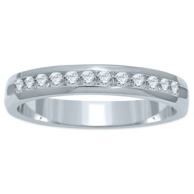 14K White Gold .25 cttw Channel-Set Diamond Size 8 Ladies' Wedding Band