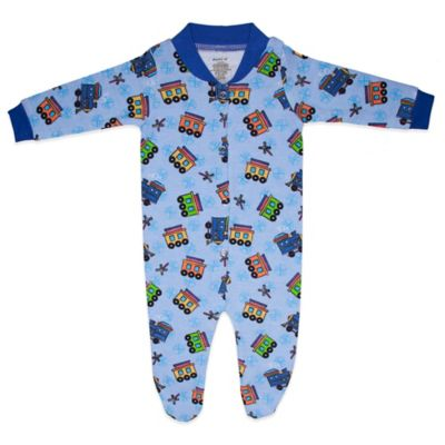 Funkoos All Aboard Trains Size 0-3M Organic Cotton Footie in Blue