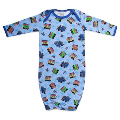 Funkoos All Aboard Trains Size 3-6M Organic Cotton Gown in Blue