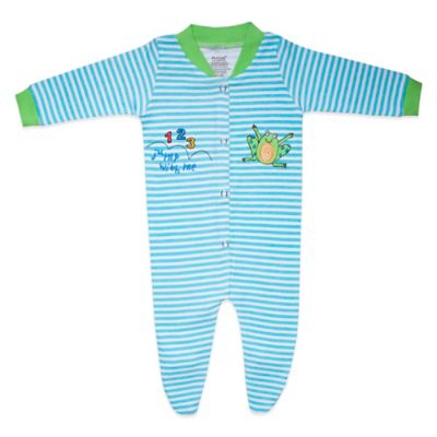 Funkoos Froggy Size 0-3M Organic Cotton Footie in Blue