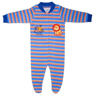 Funkoos King of The Jungle Size 0-3M Organic Cotton Sleepsuit in Blue/Orange