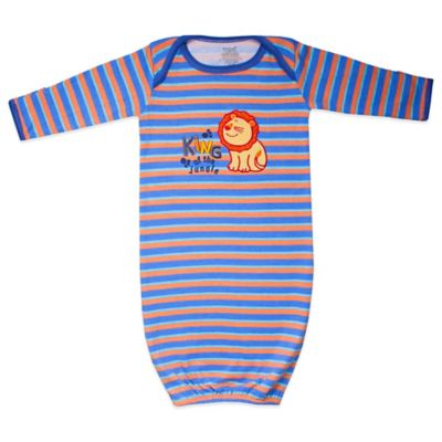 Funkoos King of The Jungle Size 0-3M Organic Cotton Gown in Blue/Orange