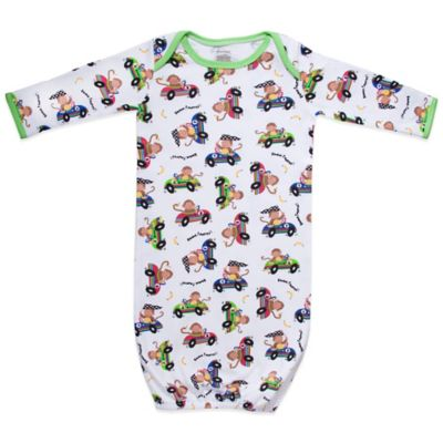 Funkoos Race Car Monkeys Size 6-9M Organic Cotton Gown