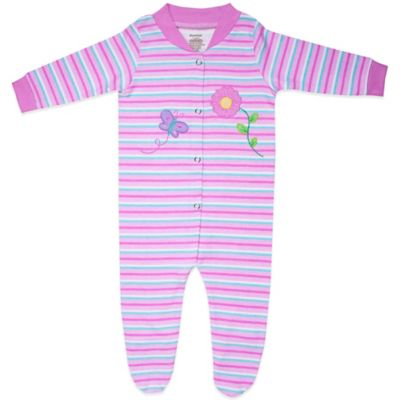 Funkoos Spring Flower Size 3-6M Organic Cotton Footie in Pink Stripes