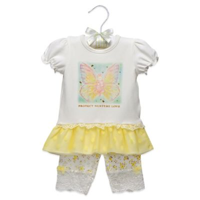 Anne Geddes 2-Piece Butterfly Print Top and Pant Set in Ivory