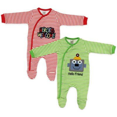 Funkoos Hero/Robot Size 3-6M 2-Pack Organic Cotton Striped Footie in Red/Green