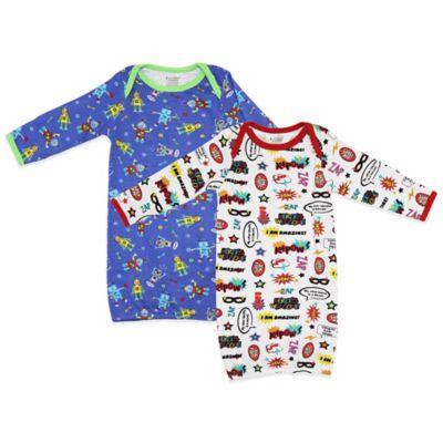 Funkoos Hero/Robot Size 6-9M 2-Pack Organic Cotton Gown in Blue/White