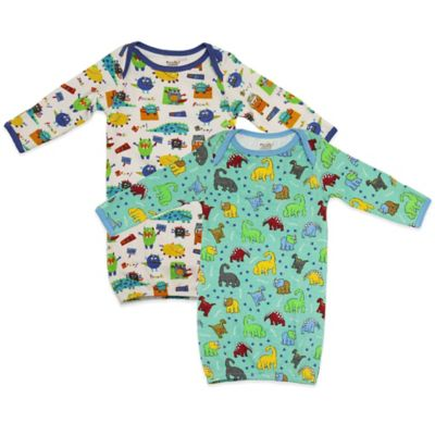 Funkoos Size 0-3M 2-Pack Dino/Little Monsters Organic Cotton Long Sleeve Gown in White/Green