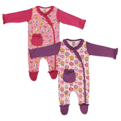 Funkoos Size 0-3M 2-Pack Floral/Cupcake Organic Cotton Snap-Front Long Sleeve Footies