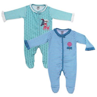 Funkoos Size 0-3M 2-Pack Paris Poodle/Lollipop Snap-Front Organic Cotton Footies