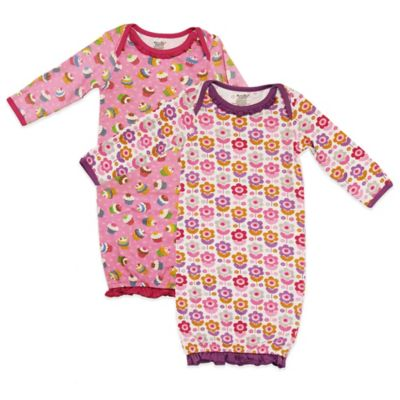 Funkoos Size 0-3M Organic Cotton 2-Pack Floral/Cupcake Long-Sleeve Gown in Pink/Purple