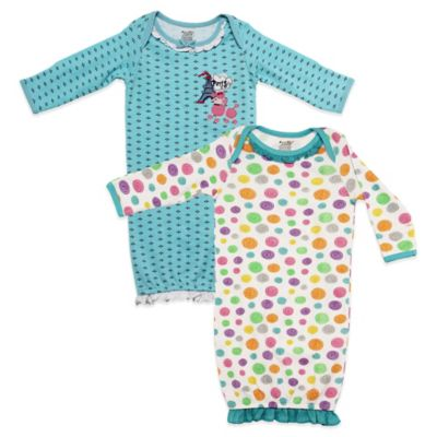 Funkoos Size 0-3M 2-Pack Organic Cotton Dot/Paris Poodle Long-Sleeve Gown