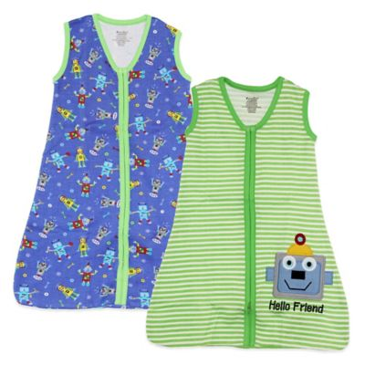Funkoos Size 6-9M Robots Organic Cotton 2-Pack Wearable Blanket in Blue/Green