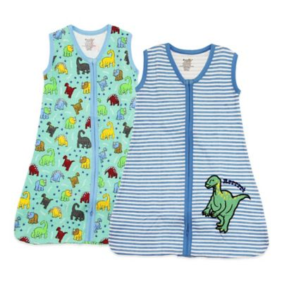 Funkoos Size 3-6M Dino Land Organic Cotton 2-Pack Wearable Blankets