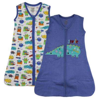 Funkoos Size 6-9M 2-Pack Organic Cotton Little Monsters Wearable Blankets