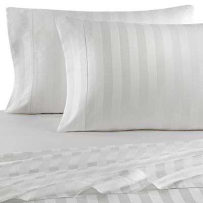 Versai Palazzo Italian-Made Tonal Striped 4-Piece Queen Sheet Set in White