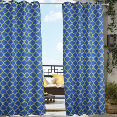Commonwealth Home Fashions Arbor 96-Inch Indoor/Outdoor Grommet-Top Window Curtain Panel in Blue