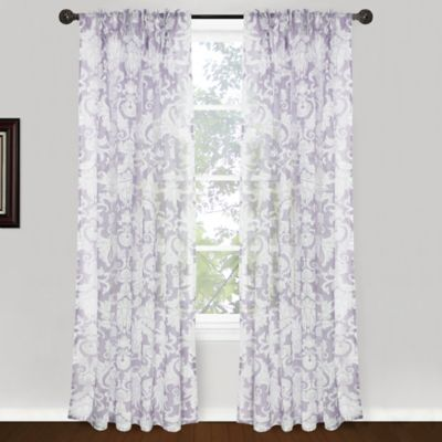 Park B. Smith Roccoco Scroll Pinch Pleat 84-Inch Window Curtain Panel Pair in Plum