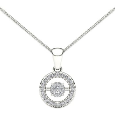 10K White Gold .15 cttw Diamond 18-Inch Chain Round Diamond in Motion Pendant Necklace