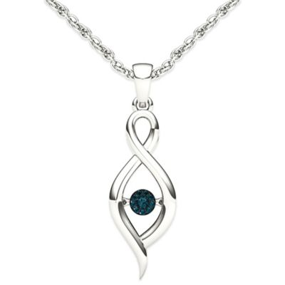 10K White Gold .04 cttw Blue Diamond 18-Inch Chain Ribbon Diamond in Motion Pendant Necklace