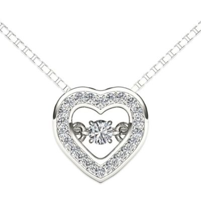 Sterling Silver .33 cttw Diamond 18-Inch Chain Heart Diamond in Motion Pendant Necklace