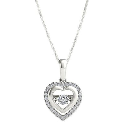 Sterling Silver .25 cttw Diamond 18-Inch Chain Double Heart Diamond in Motion Pendant Necklace
