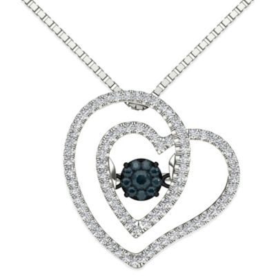 Sterling Silver .25 cttw Black/White Diamond in Motion 18-Inch Chain Twisted Heart Pendant Necklace