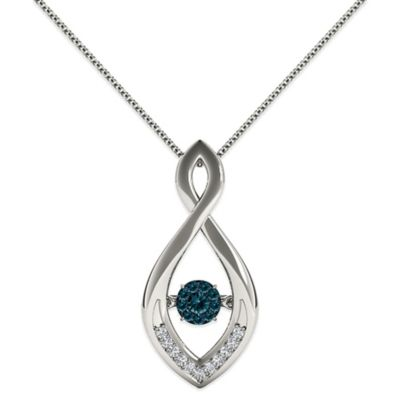 Sterling Silver .24 cttw Blue/White Diamond Infinity Diamond in Motion Pendant Necklace