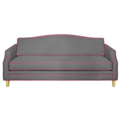 Kyle Schuneman for Apt2B Blackburn Sofa in Grey with Pink Lemonade piping