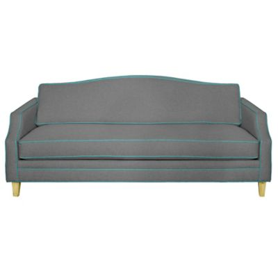 Kyle Schuneman for Apt2B Blackburn Sofa in Grey with Ocean Blue Piping