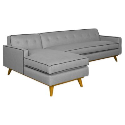 Kyle Schuneman for Apt2B Clinton 2-Piece Left Arm Facing Sectional in Grey with Aqua Piping