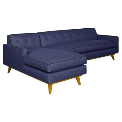 Kyle Schuneman for Apt2B Clinton 2-Piece Left Arm Facing Sectional in Navy with Coal Piping