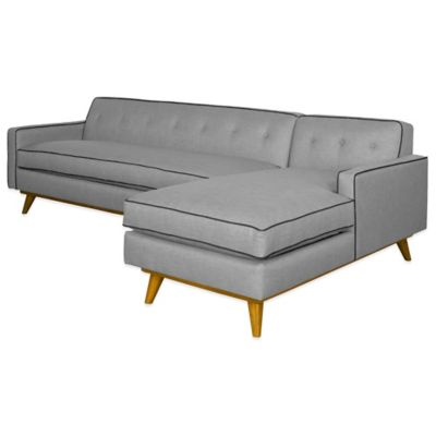 Kyle Schuneman for Apt2B Clinton 2-Piece Right Arm Facing Sectional in Grey with Sprite Piping