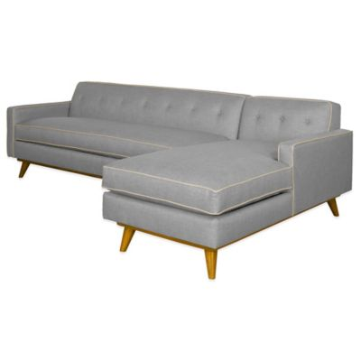 Kyle Schuneman for Apt2B Clinton 2-Piece Right Arm Facing Sectional in Grey with Cream Piping