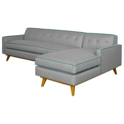 Kyle Schuneman for Apt2B Clinton 2-Piece Right Arm Facing Sectional in Grey with Aqua Piping