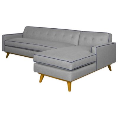 Kyle Schuneman for Apt2B Clinton 2-Piece Right Arm Facing Sectional in Grey with Navy Piping