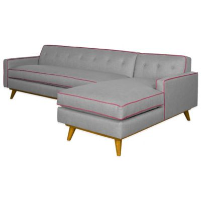 Kyle Schuneman for Apt2B Clinton 2-Piece Right Arm Facing Sectional in Grey with Fuchsia Piping