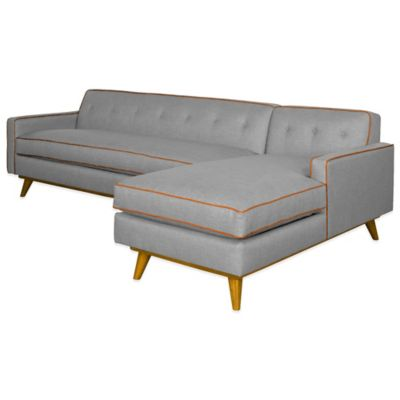 Kyle Schuneman for Apt2B Clinton 2-Piece Right Arm Facing Sectional in Grey with Orange Piping