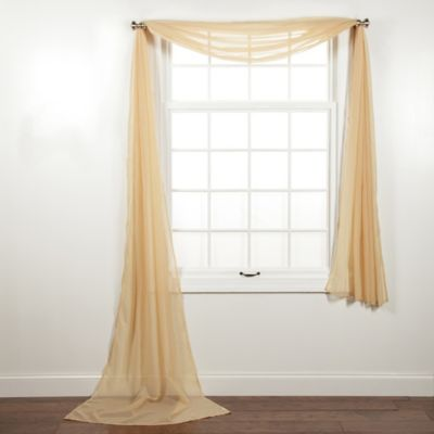 Elegance Sheer Voile Scarf Valance in Gold