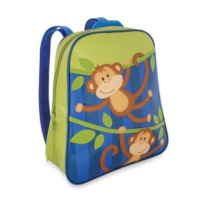 Stephen Joseph Monkey Go Go Backpack in Green/Blue
