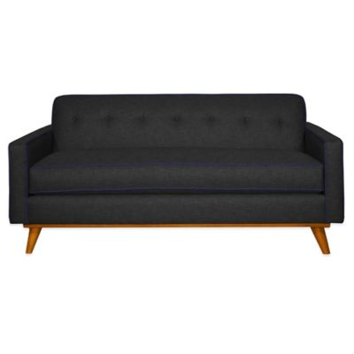 Kyle Schuneman for Apt2B Clinton Mini Apartment Sofa in Coal with Navy Piping