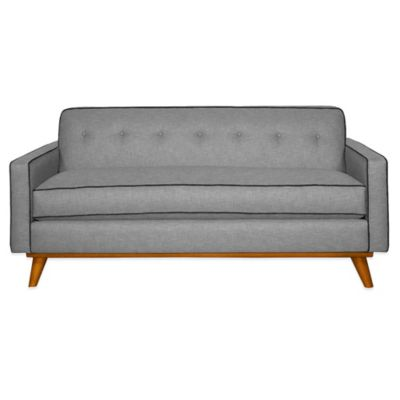 Kyle Schuneman for Apt2B Clinton Mini Apartment Sofa in Grey with Pink Lemonade Piping