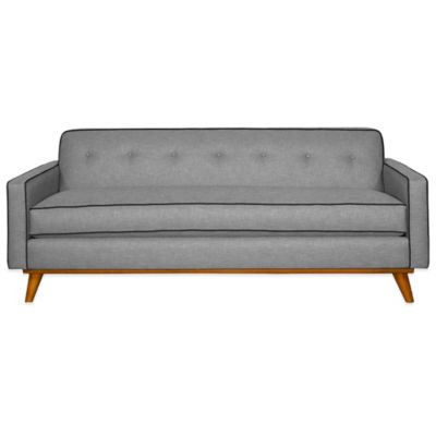 Kyle Schuneman for Apt2B Clinton Sofa in Grey with Pink Lemonade Piping