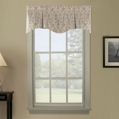 Lyra Pleated Window Curtain Valance in Taupe